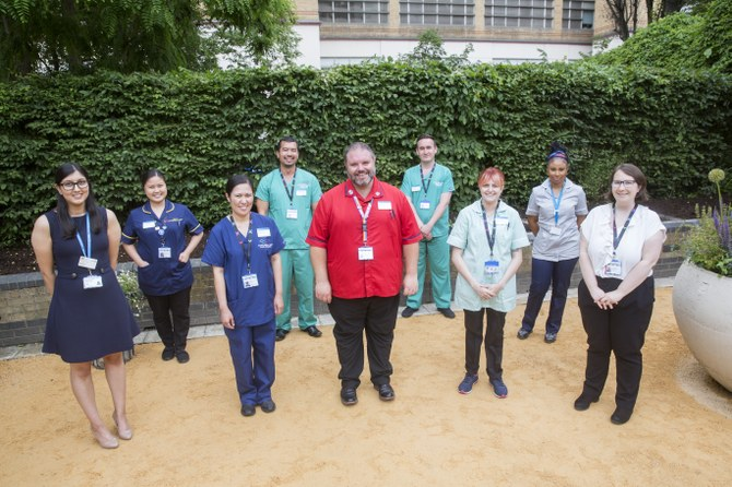 Staff in the AMAFFI garden at Chelsea and Westminster Hospital
