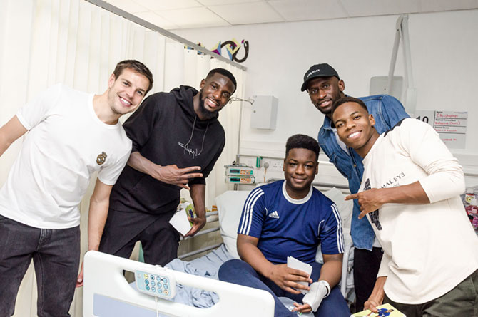 Christmas surprise for children at Chelsea and Westminster Hospital as Chelsea FC drop in for a special visit