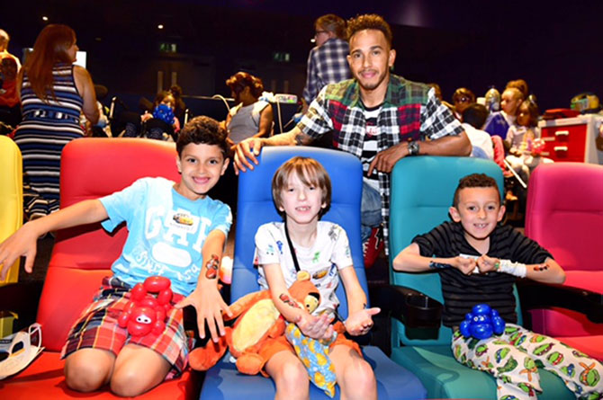 Lewis Hamilton treats young patients to an afternoon in the fast lane at Chelsea and Westminster Hospital