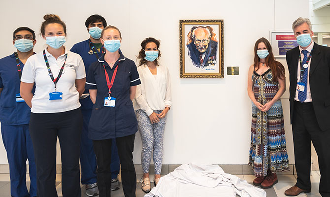 Local artist's portrait of Sir Tom Moore donated to Chelsea and Westminster Hospital