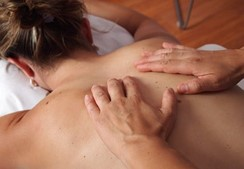 Lady back with Massage hands